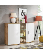 Sideboard i vit highgloss med LED-belysning.