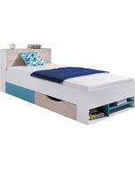 Łóżko 90 PLANET 14 Biały/Dąb Morski Bez materaca