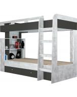Łóżko piętrowe Tablo 13 Grafit/Biały/Atlantic Bez materaca