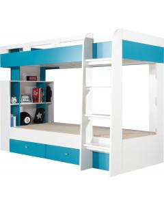 Łóżko piętrowe MOBI 19 Biały/Turkus Bez materaca